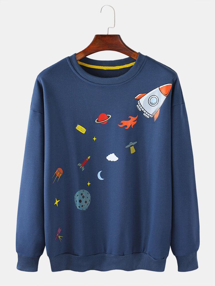 Best Mens Cotton Spaceship Printed Round Neck Loose Drop Shoulder Sweatshirts You Can Buy