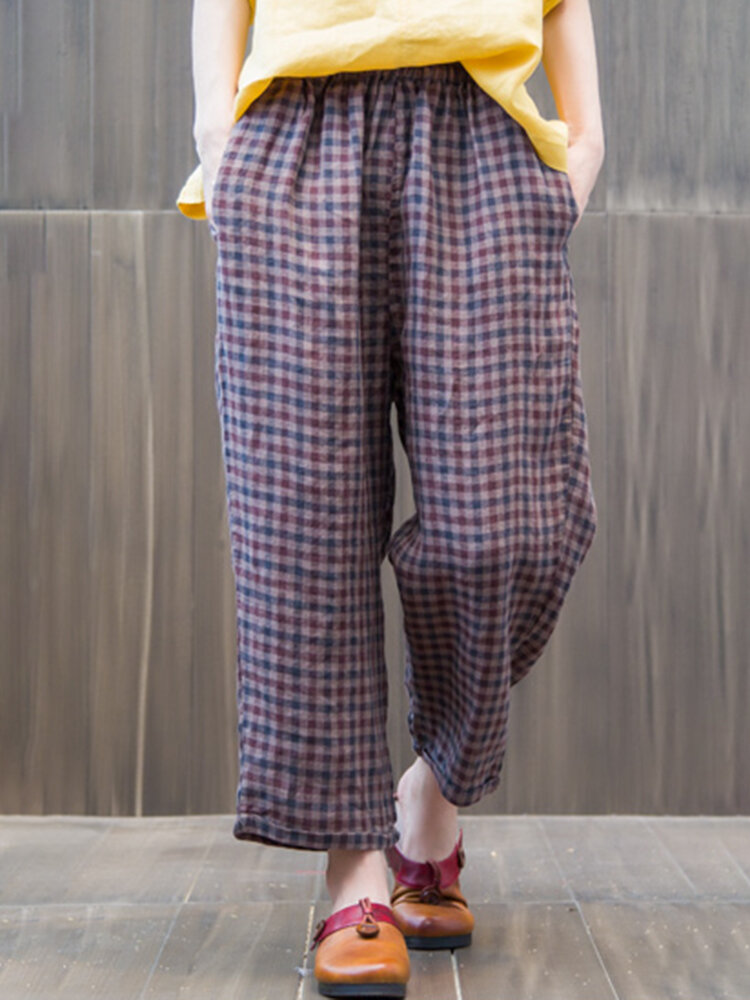 Best Loose Elastic Waist Plaid Trousers For Women You Can Buy