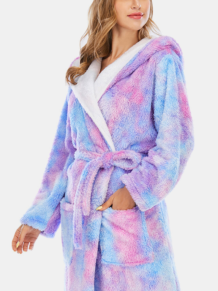 Best Women Tie Dye Sashes Coral Fleece Hooded Thick Winter Loose Sleepwear Robes You Can Buy