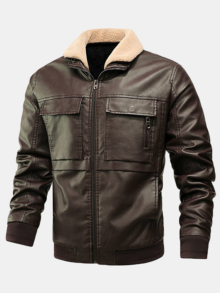 Best Mens PU Leather Thicken Zip Front Lapel Collar Jackets With Flap Pockets You Can Buy