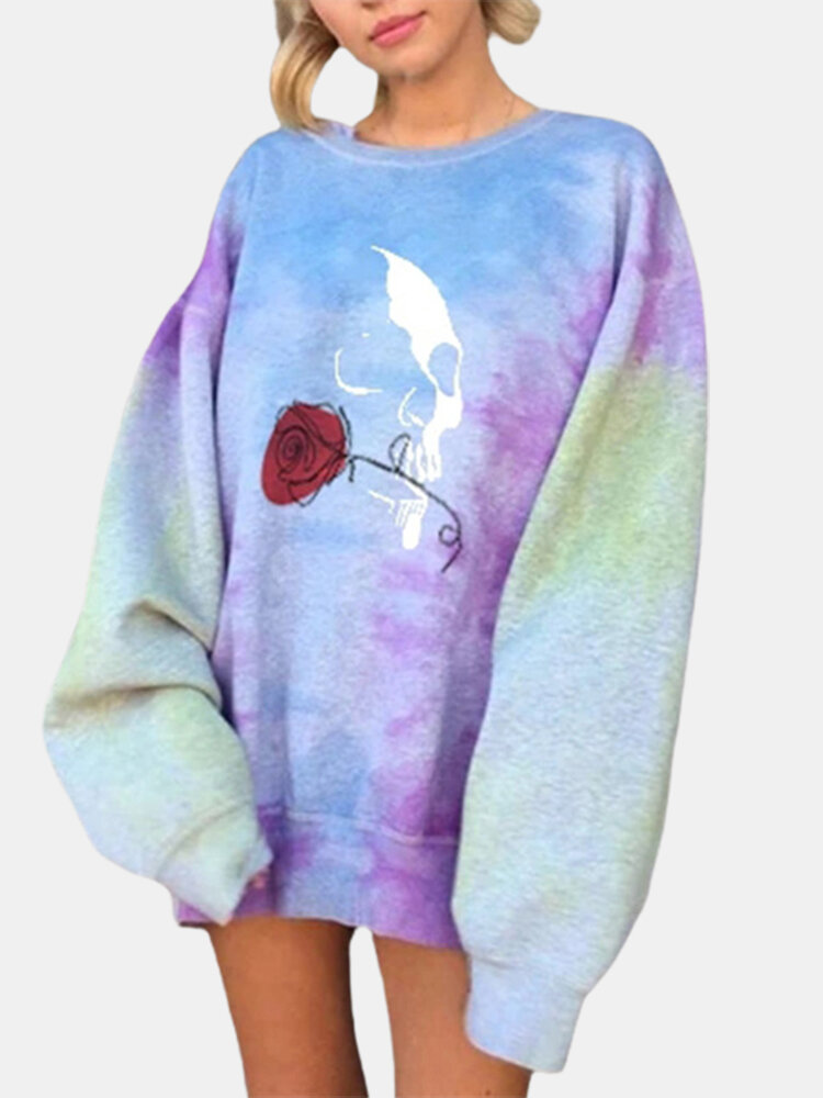 Best Casual Rose Print Loose O-neck Plus Size Sweatshirt You Can Buy