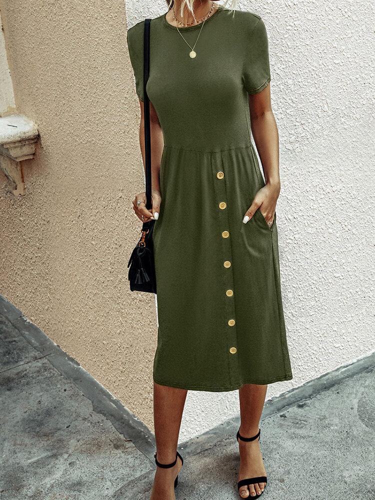 Best Solid Color Button Short Sleeves O-neck Dress For Women You Can Buy