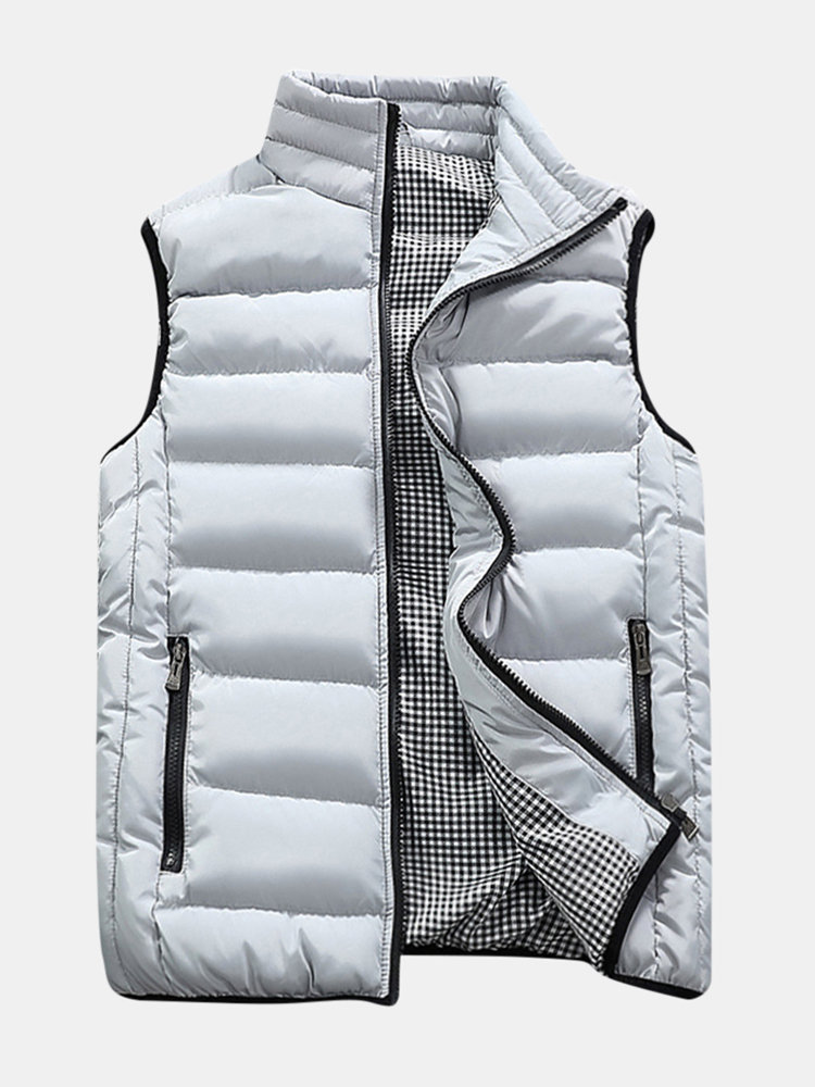 Best Mens Winter Thickened Warm Solid Color Stand Collar Slim Fit Fashion Casual Vest You Can Buy