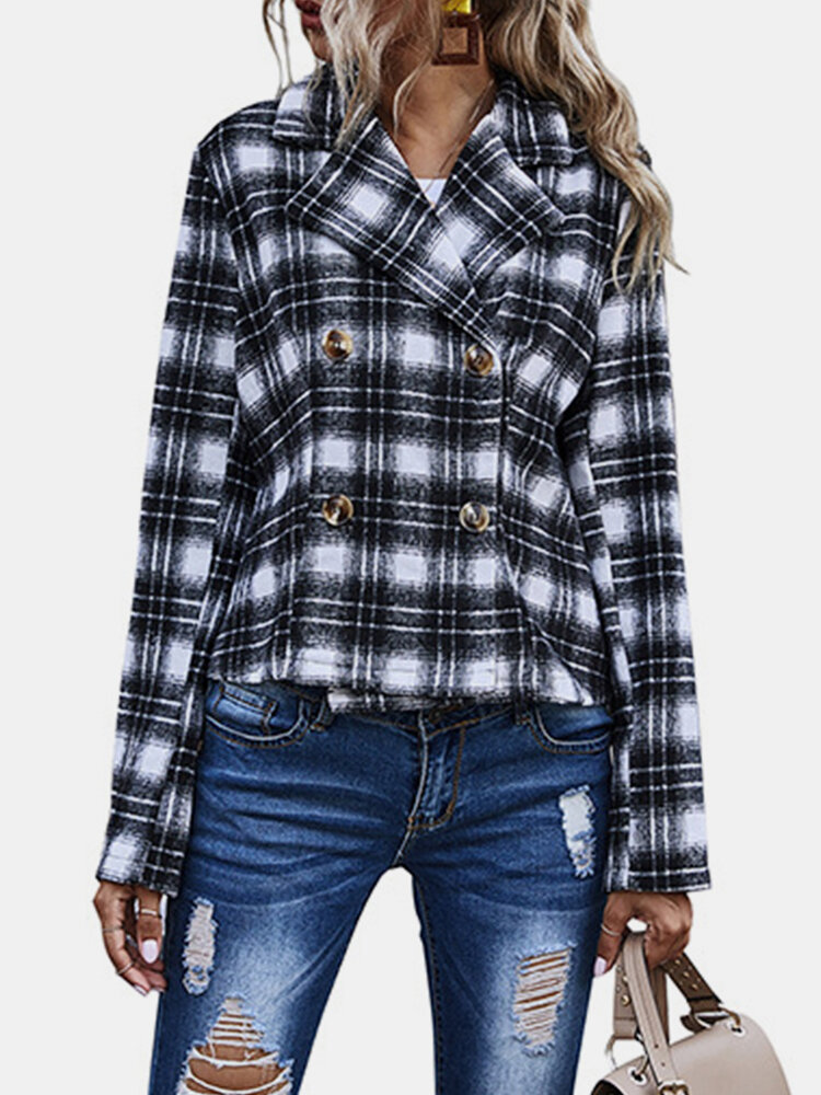 Best Lapal Plaid Print Long Sleeve Casual Jacket For Women You Can Buy