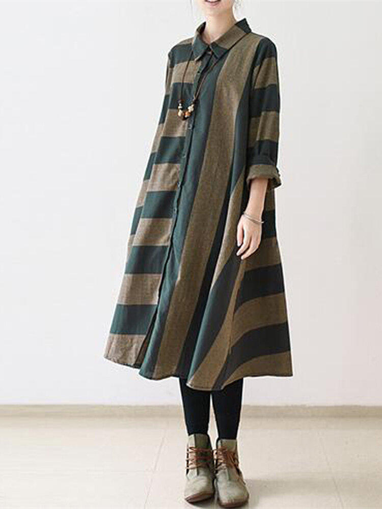 Best Vintage Women Stripe Long Sleeve Casual Loose Shirt Dresses You Can Buy