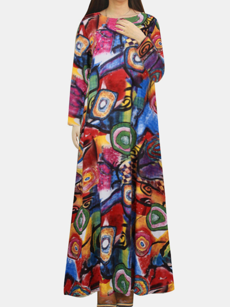 Best Bohemia Printed Pockets O-neck Long Sleeve Vintage Dress You Can Buy