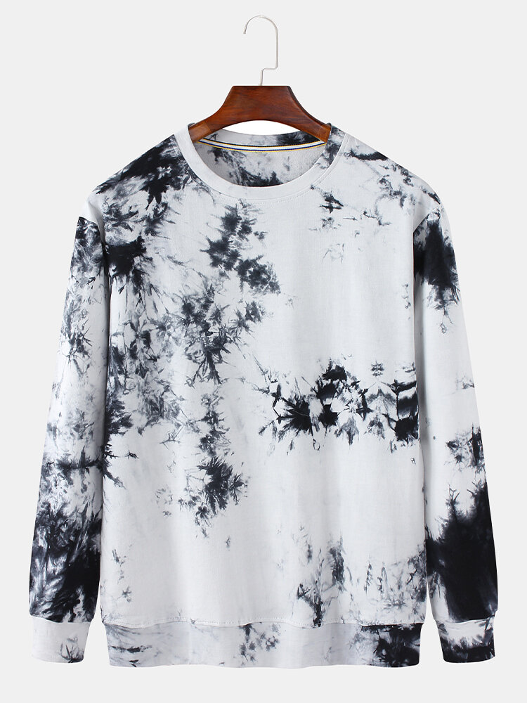 Best Mens 100% Cotton Ink Tie-Dye Print Crew Neck Loose Fit Sweatshirt You Can Buy