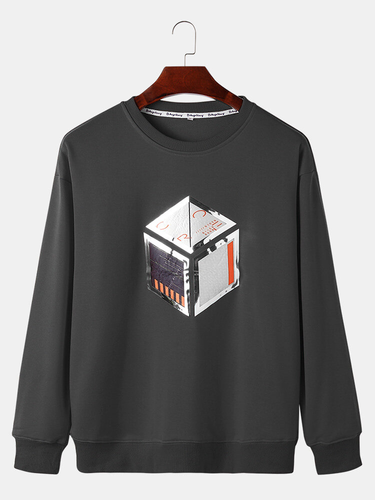 Best Mens 100% Cotton Cube Graphic Print Casual Crew Neck Sweatshirts You Can Buy