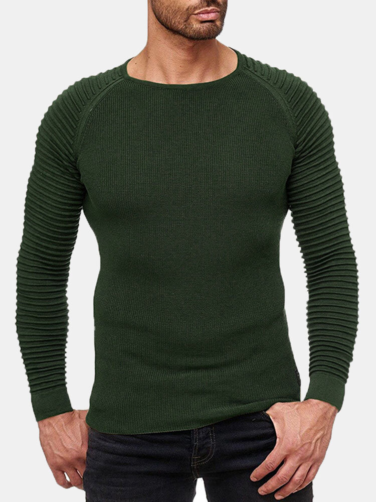 Best Mens Pleated Sleeve Casual Solid Color Warm Round Neck Long Sleeve Knitted Sweaters You Can Buy