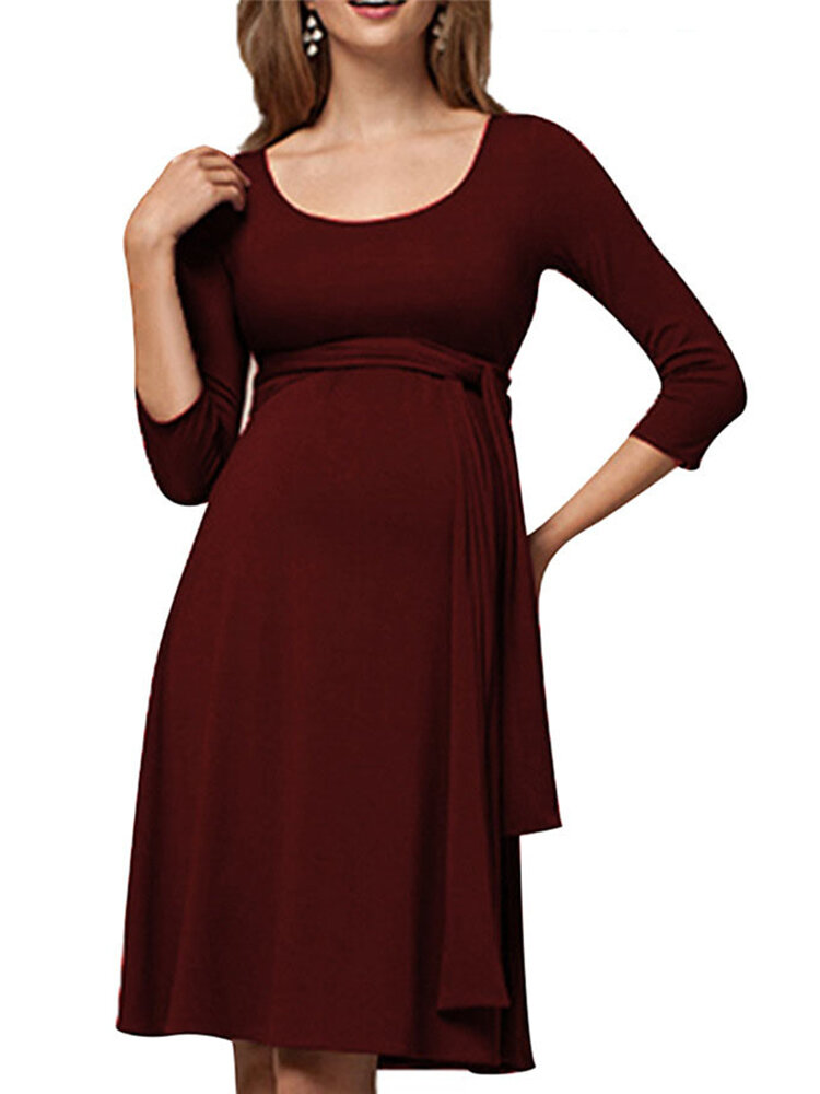 Best Maternity Crew Neck Long Sleeve Nursing Dress With Waistband You Can Buy