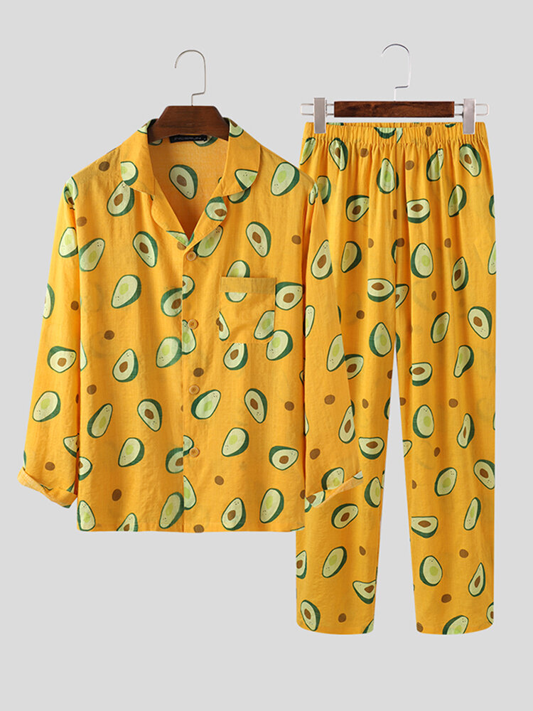 Best Cute Avocado Print Two-Piece Casual Homewear Cotton Breathable Pajamas Sets You Can Buy