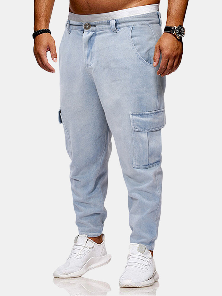 Best Men's Vintage Washed Side Pockets Decoration Loose Harem Pants Casual Jeans You Can Buy