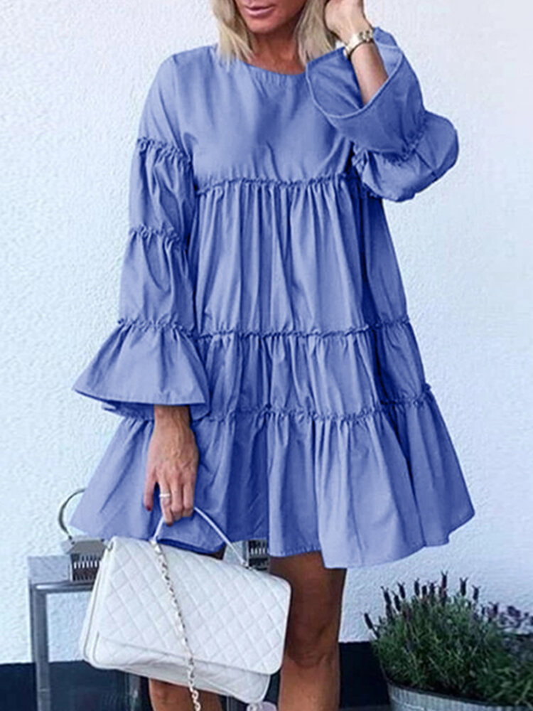 Best Solid Color O-neck Long Bell Sleeve Casual Layered Dress You Can Buy