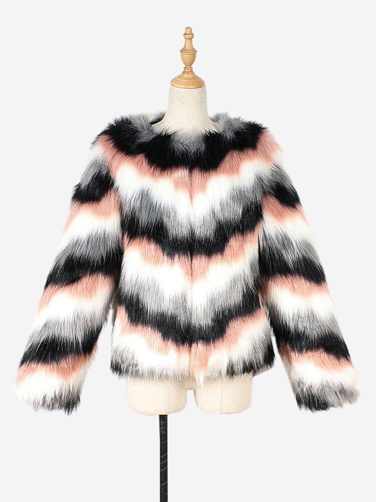 Best Faux Fur Stripe Long Sleeve Autumn Winter Short Coat You Can Buy