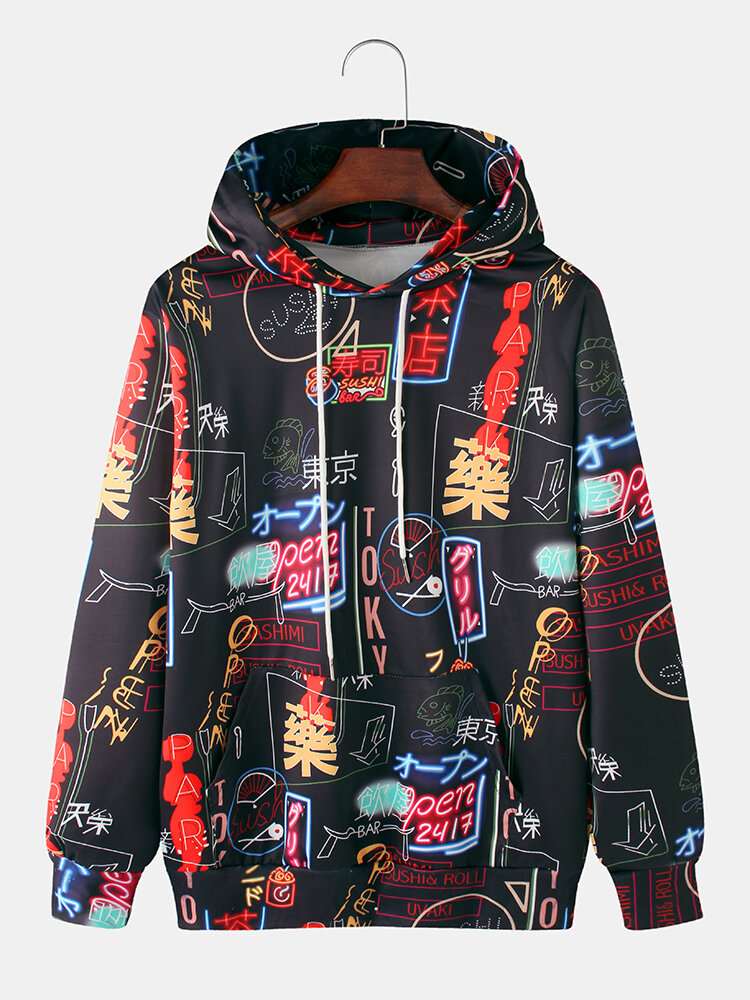 Best Mens Japanese Character Print Relaxed Fit Hoodies With Kangaroo Pocket You Can Buy