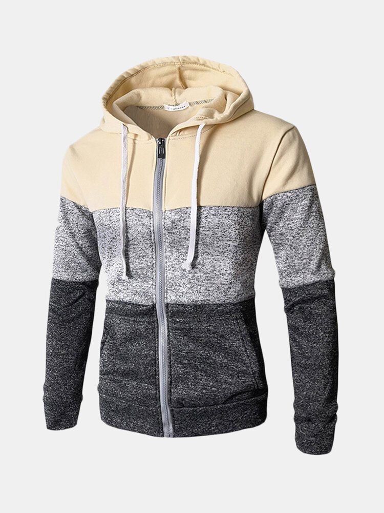 Best Mens Breathable Modish Striped Patchwork Drawsring Hat Zip Up Hoodies Casual Hooded Tops You Can Buy