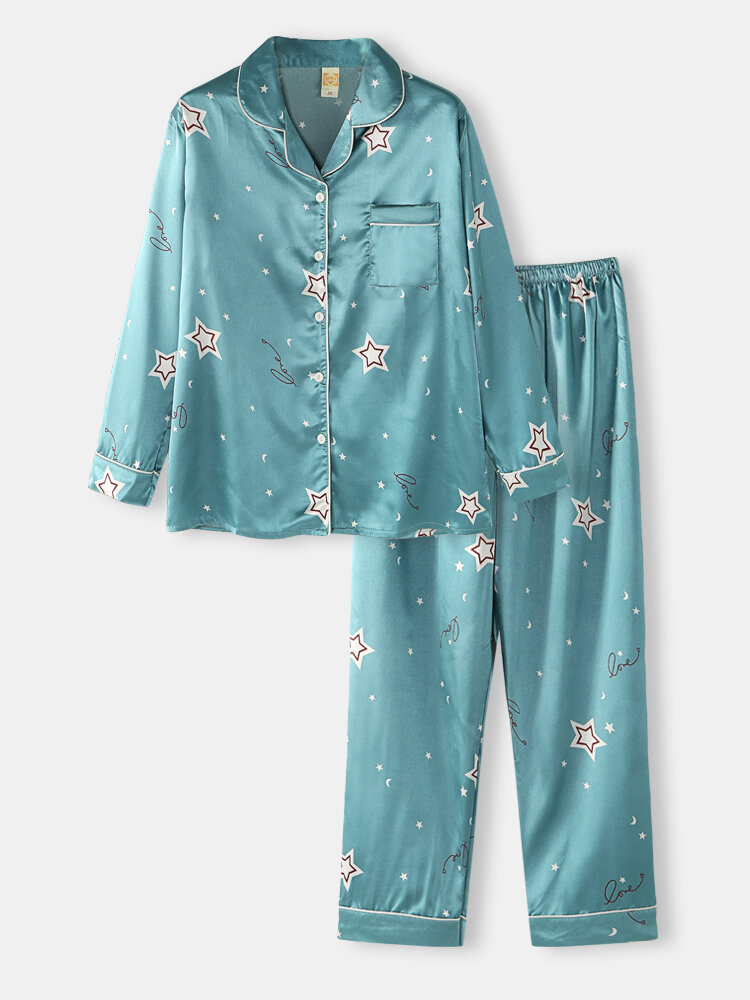 Best Plus Size Women Ice Silk Stars Print Revere Collar Long Pajamas Sets With Contrast Binding You Can Buy