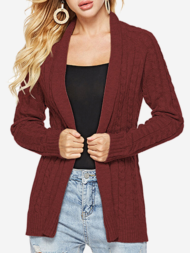 Best Knit Twisted Solid Color Mid Length Cardigan You Can Buy