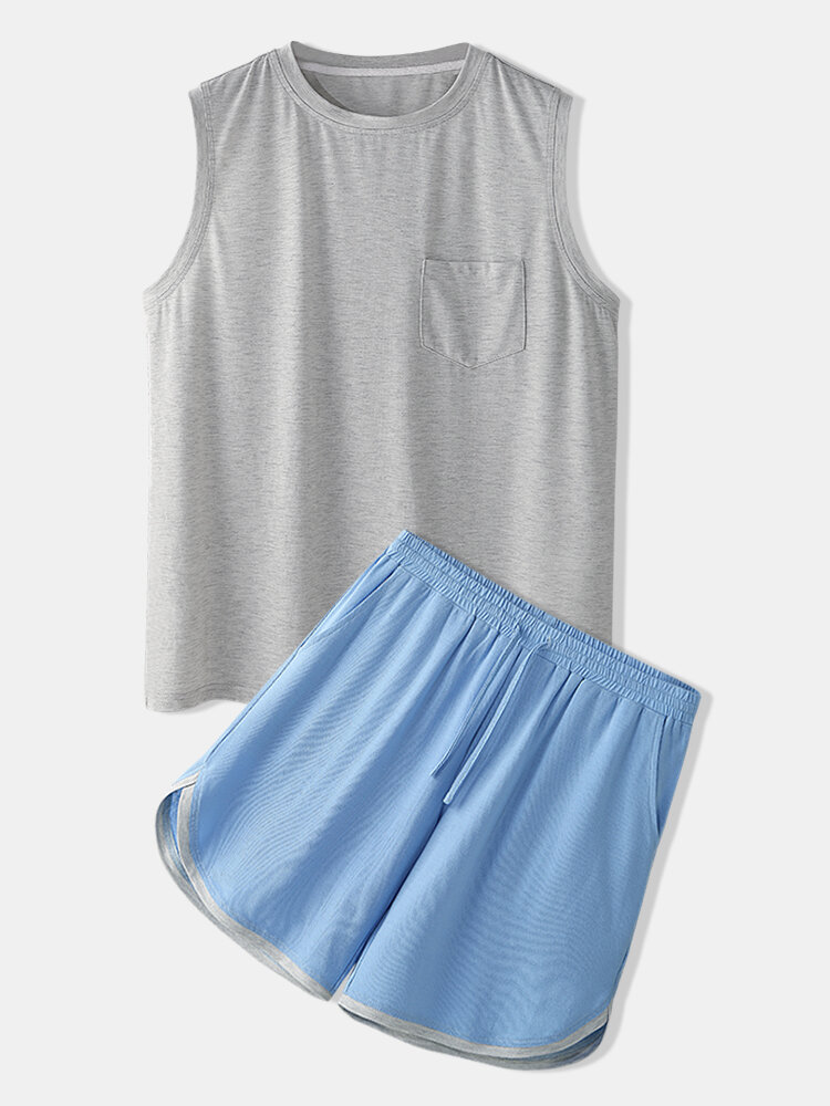 Best Men Workout Breathable Loungewear Sets Gray Tank Tops and Loose Blue Running Boxer Shorts You Can Buy