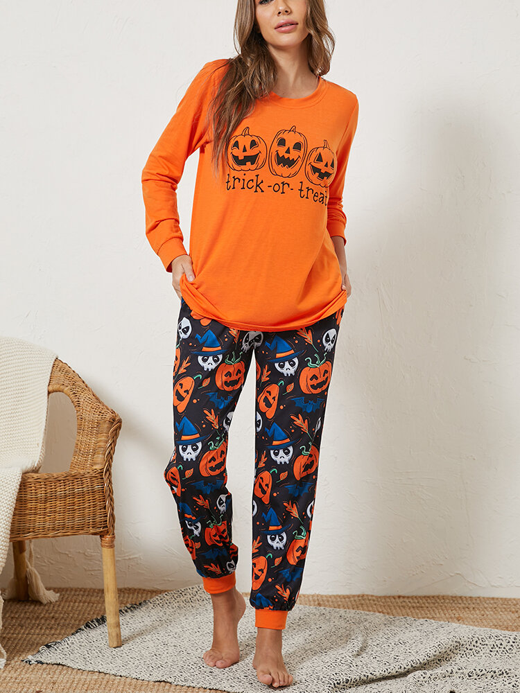 Best Women Plus Size Women Halloween Cartoon Ghost Print Jogger Pants Cozy Pajama Set You Can Buy
