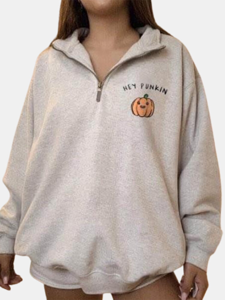 Best Halloween Pumpkin Print Lapel Plus Size Sweatshirt You Can Buy