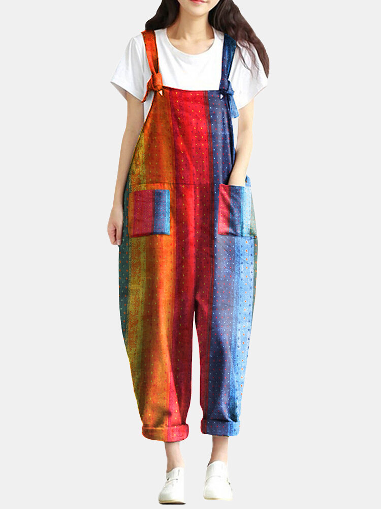 Best Rainbow Polka Dot Spaghetti Staps Loose Pocket Jumpsuit For Women You Can Buy