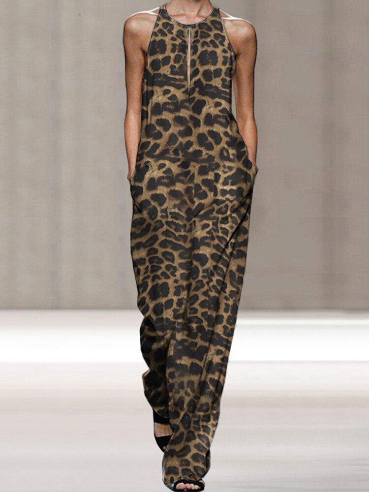 Best Leopard Print Sleeveless Plus Size Loose Jumpsuit You Can Buy