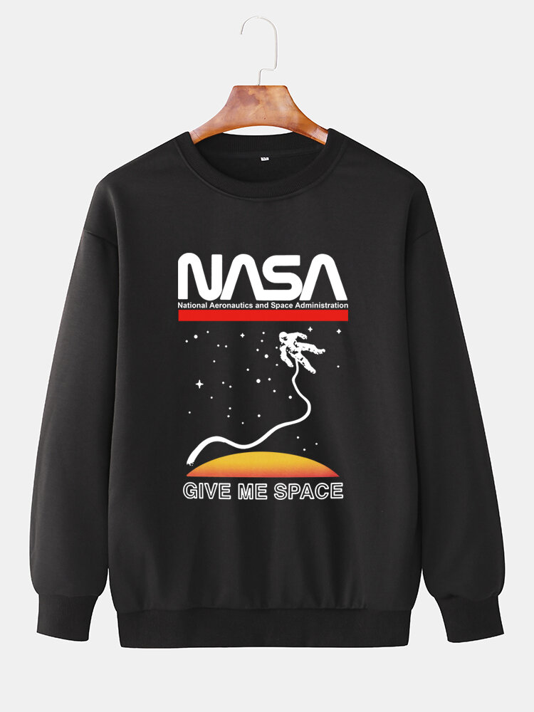 Best Mens NASA Space Graphic Print Solid Color Casual Loose Pullover Sweatshirts You Can Buy