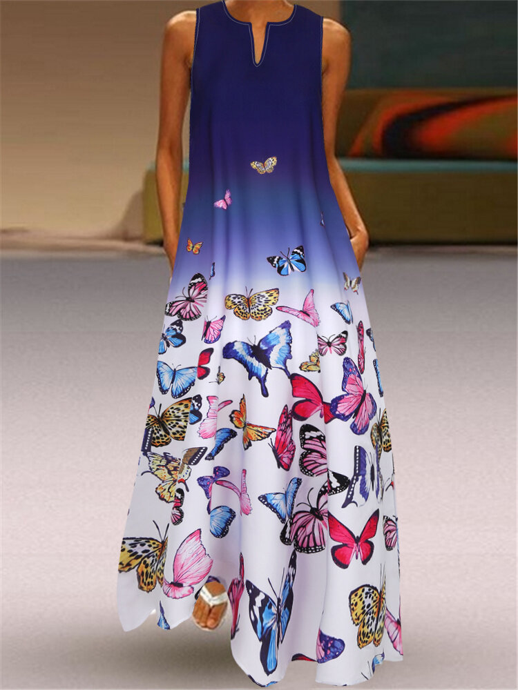 Best Butterfly Printed Ombre Patchwork V-neck Maxi Dress You Can Buy