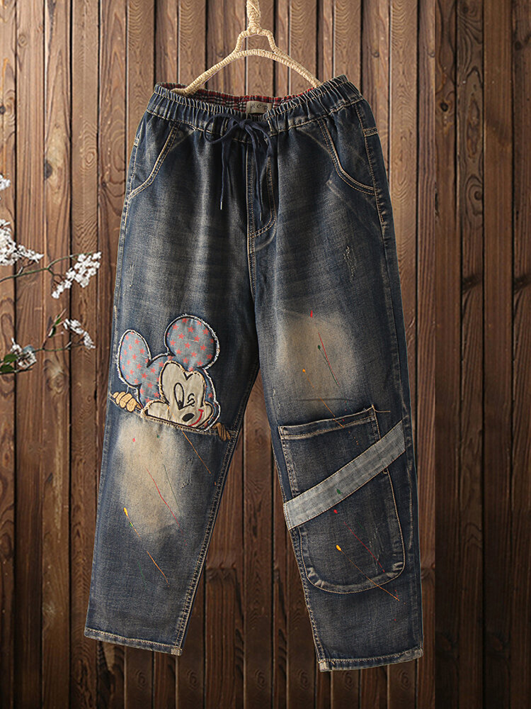 Best Cartoon Embroidery Elastic Wasit Patchwork Pocket Demin Jeans For Women You Can Buy