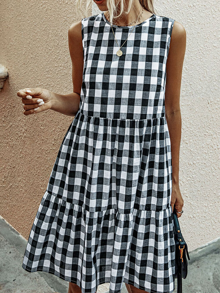 Best Plaid Print Sleeveless O-neck Casual Dress You Can Buy