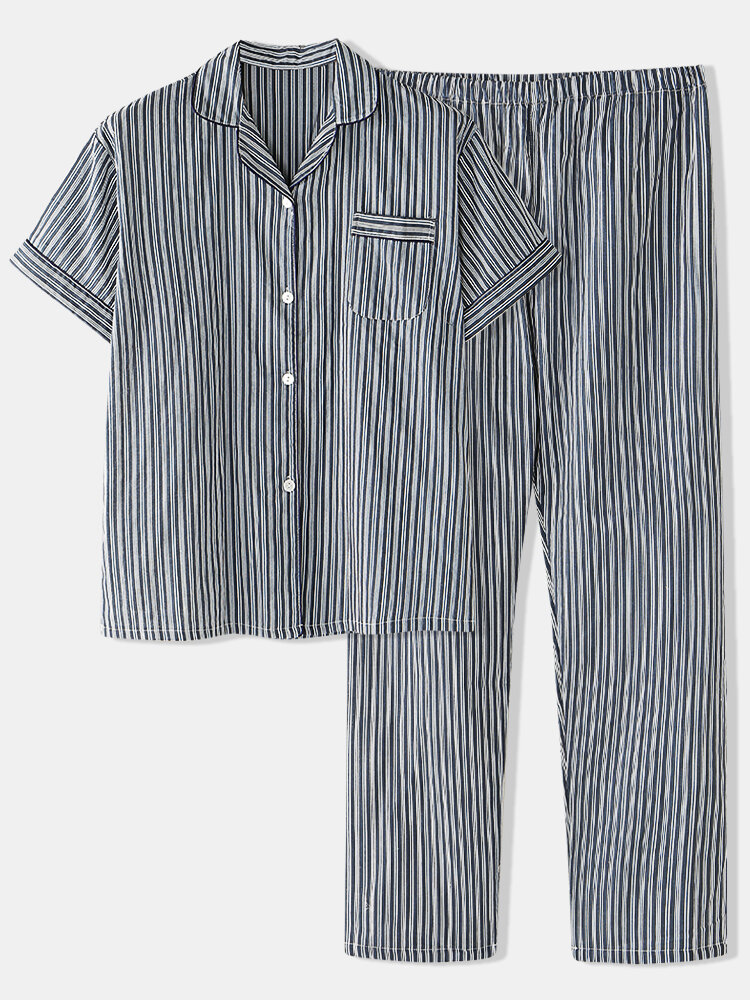 Best Cotton VerticalStriped Two Piece Pajamas Sets Lightweight Short Sleeve & Long Bottoms With Chest Pockets You Can Buy