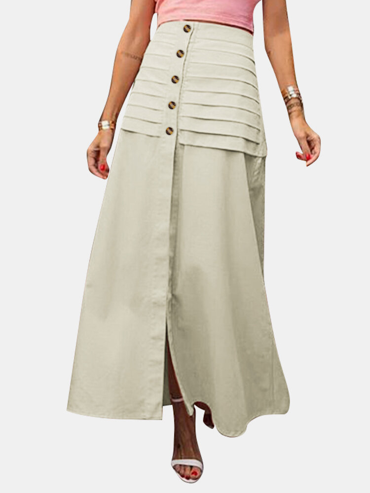 Best Solid Color Layered Front Button Slit Hem Back Elastic Waist Skirt You Can Buy