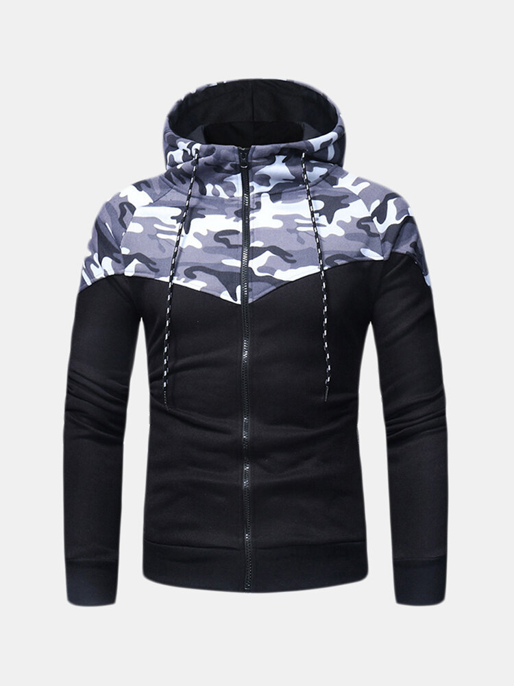 Best Mens Breathable Camo Patchwork Hoodies Cotton Drawstring Hat Casual Sport Running Tops Sweatshirt You Can Buy