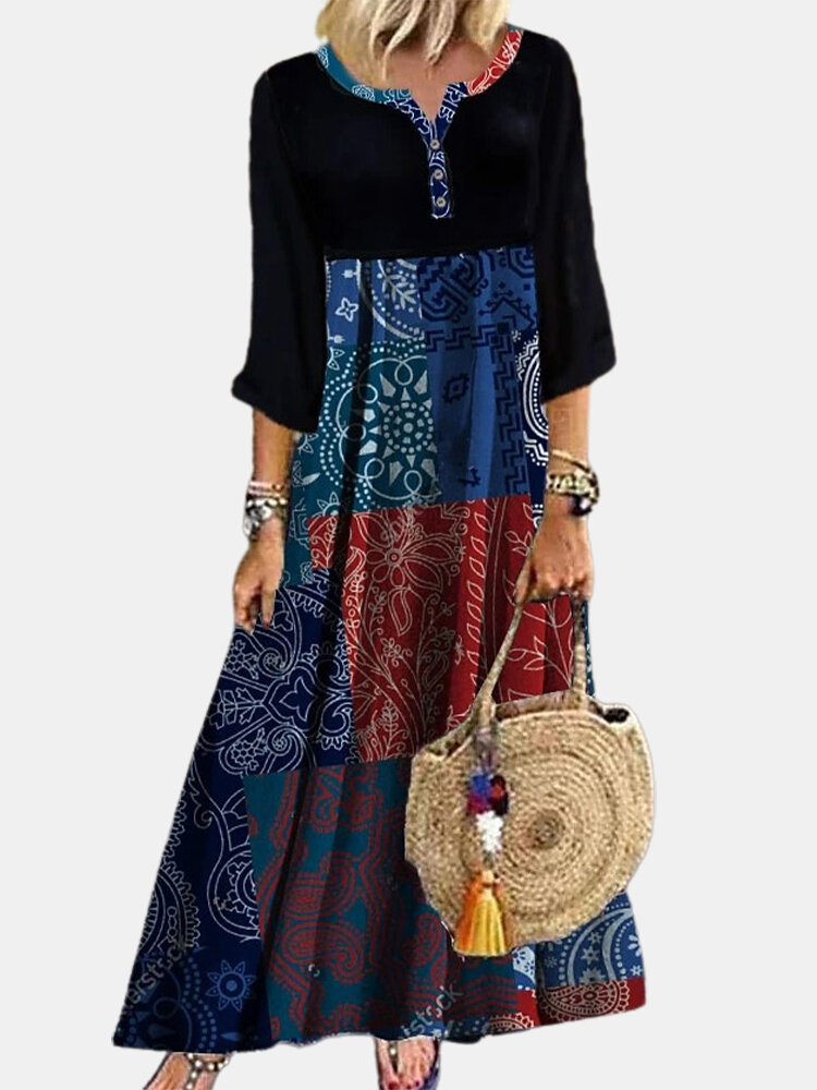 Best Ethnic Print Patchwork Long Sleeve Vintage Dress For Women You Can Buy