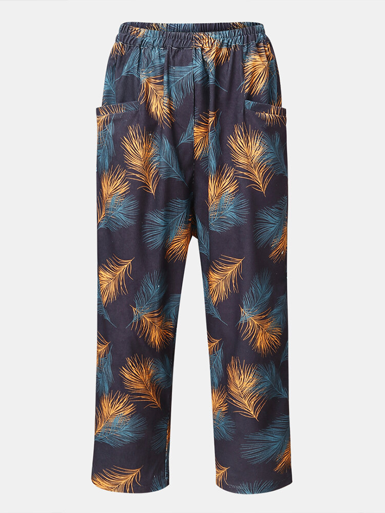 Best Feather Printed Elastic Waist Loose Pants For Women You Can Buy