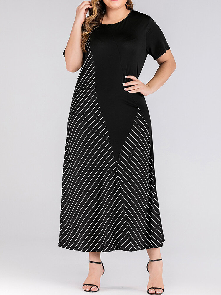 Best Casual Striped Pacthwork Short Sleeve Plus Size Dress You Can Buy