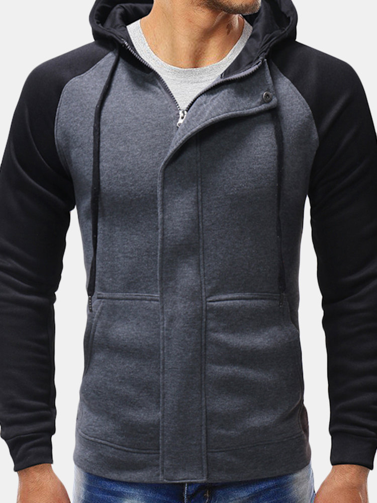 Best Mens Casual Drawstring Stitching Big Front Pockets Zipper Design Hoodies You Can Buy