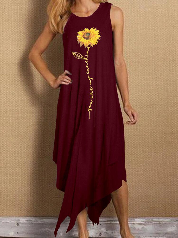 Best Sunflowers Print Irregular Sleeveless Plus Size Dress You Can Buy
