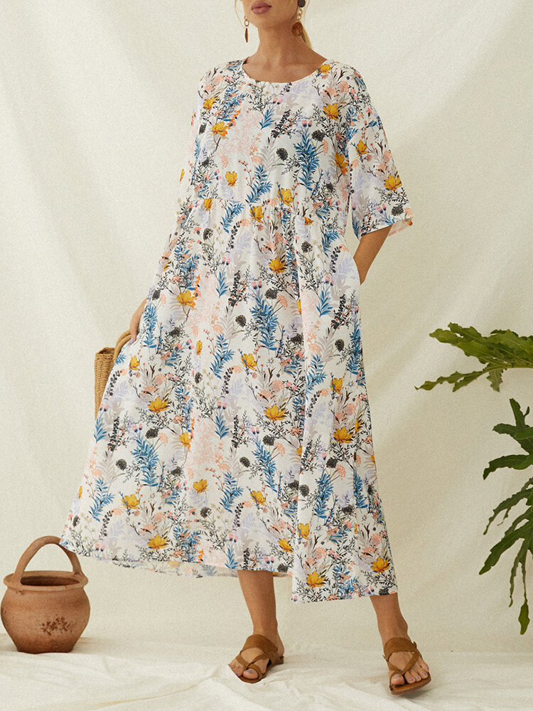 Best Floral Print Short Sleeve Plus Size Vintage Dress with Pockets You Can Buy