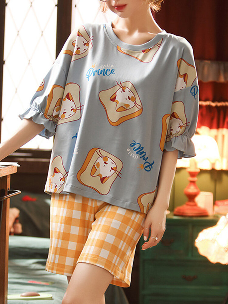 Best Women Cartoon Print Pajamas Short Set Mid Sleeve Casual Sleepwear You Can Buy
