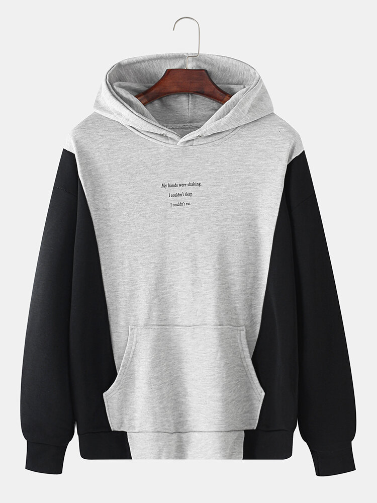 Best Mens Cotton Colorblock Funeral Culture Print Loose Hoodie With Muff Pocket You Can Buy