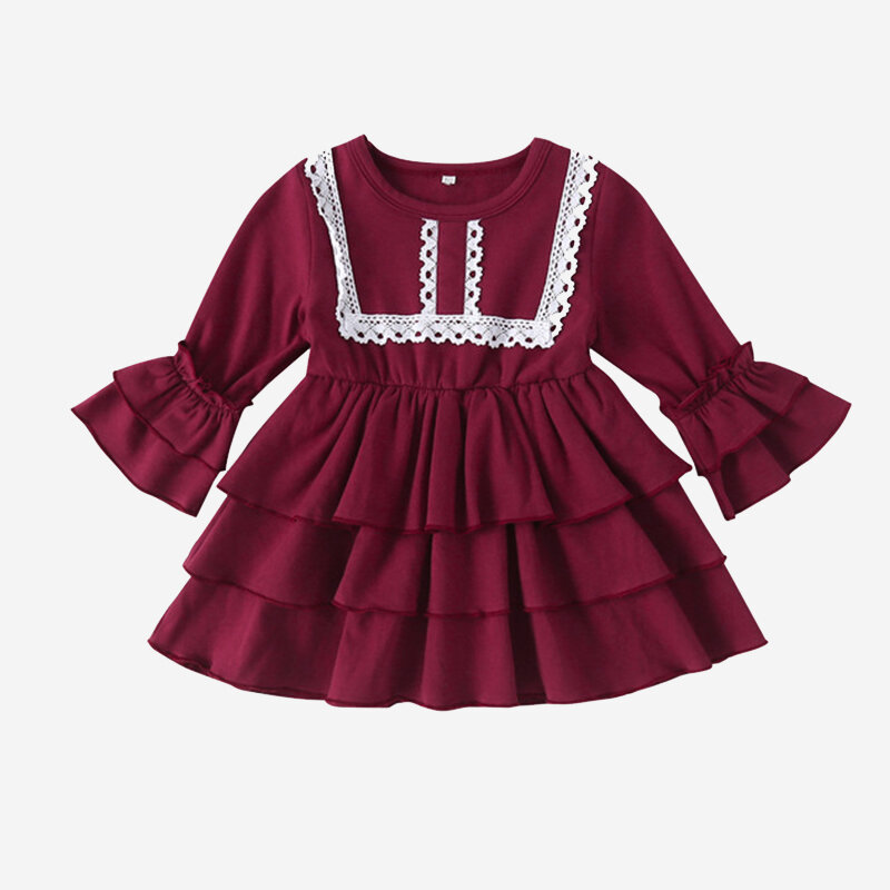 Best Baby Long Sleeves O-neck Pleated Dress For 3-18M You Can Buy