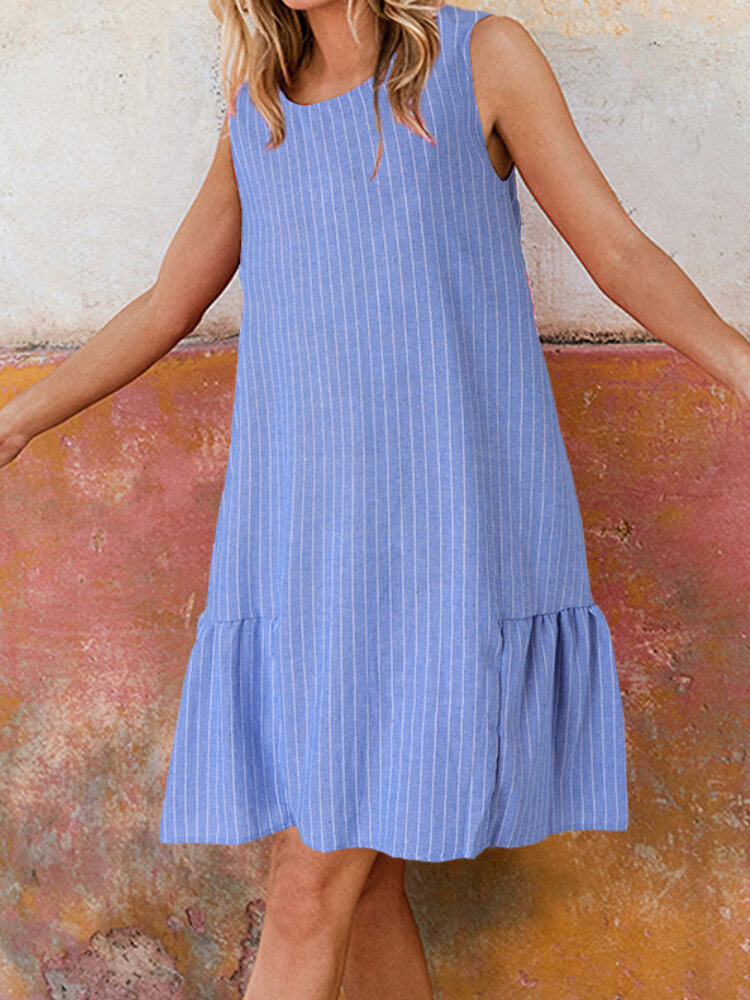 Best Striped Print O-neck Sleeveless A-Line Pleated Dress You Can Buy