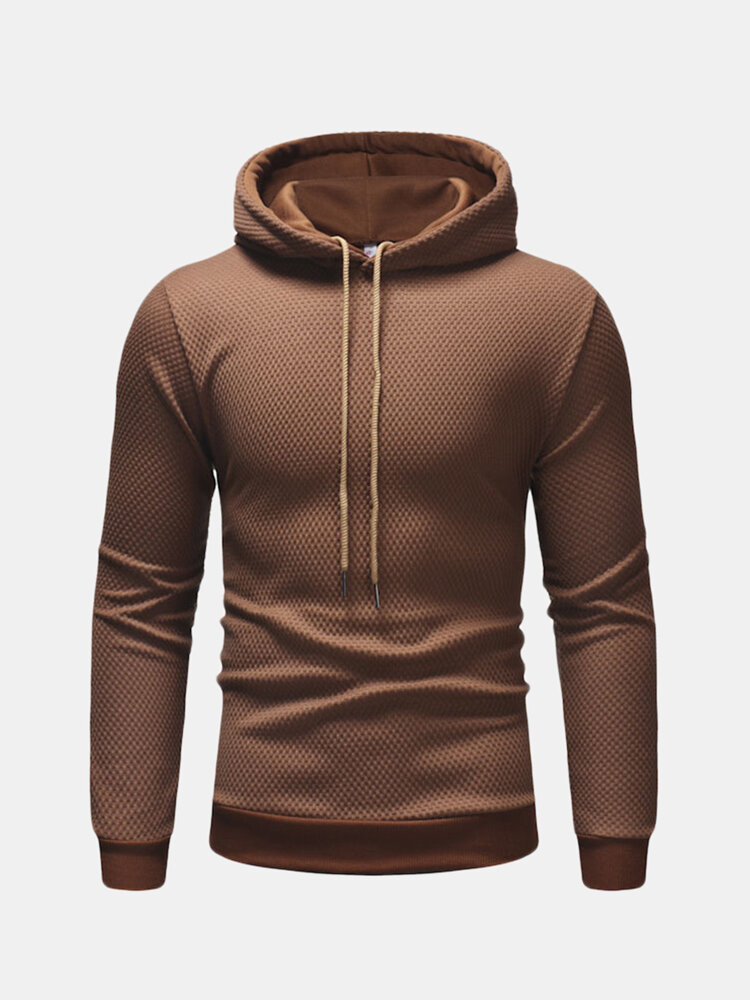 Best Mens Fall Drawstring Hooded Hoodie Warm Solid Color Long-sleeve Slim Fit Sweatshirt You Can Buy