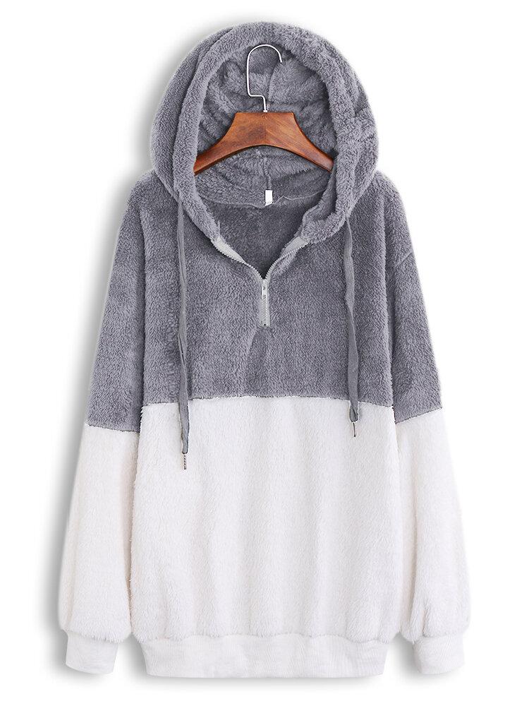 Best Fleece Patchwork Long Sleeve Casual Hoodie You Can Buy