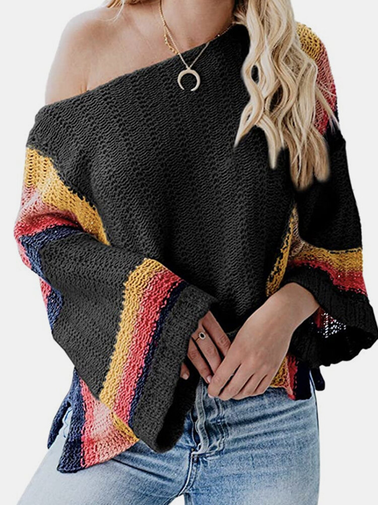 Best Contrast Color Patchwork Long Sleeve O-neck Sweater For Women You Can Buy