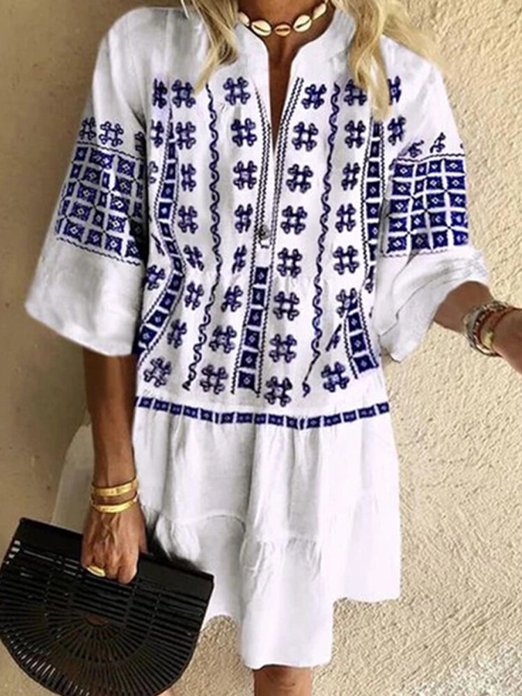 Best Ethnic Print 3/4 Sleeve V-neck Mini Dress For Women You Can Buy