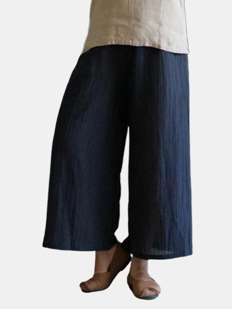 Best Wide Leg Pure Color Loose Elastic Waist Vintage Pants You Can Buy