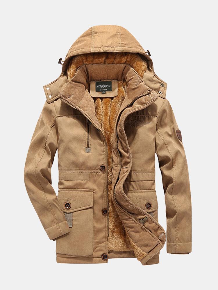 Best Mens Winter Inside Thicken Fleece Warm Hooded Windproof Parka Jacket You Can Buy